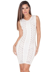 BAN356-2 Rochie scurta, tip bandage, cu model in zig-zag pe lateral