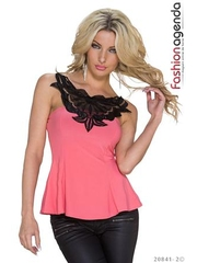 Top Coral cu Broderie Maurice